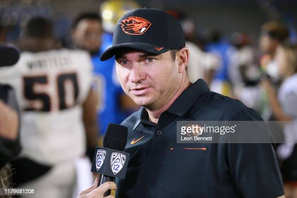 Head coach Jonathan Smith of the Oregon State Beavers postgame interviewing with the PAC12 network after winning 4831 over the UCLA Bruins at the...