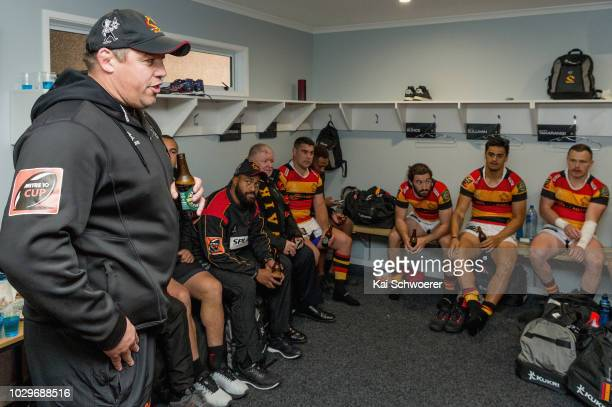 Head Coach Jono Gibbes of Waikato speaks to his player after their win in the round four Mitre 10 Cup Ranfurly Shield match between Taranaki and...