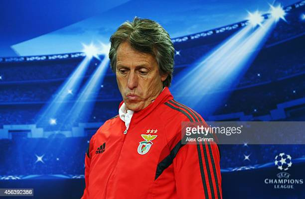 Head coach Jorge Jesus arrives for a SL Benfica press conference ahead of their UEFA Champions League group C match against Bayer Leverkusen at...