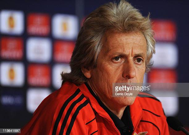 Head coach Jorge Jesus of Benfica holds a news conference at Estadio Municipal de Braga the day before the UEFA Europa League semifinal second leg...