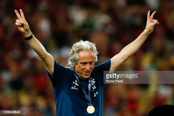 Head coach Jorge Jesus of Flamengo celebrates after the second leg match between Flamengo and Independiente del Valle as part of Recopa Sudamericana...
