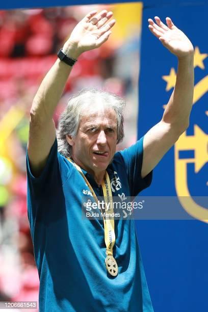 Head coach Jorge Jesus of Flamengo celebrates after winning the Brazilian Supercopa final by 30 against Athletico PR at Mane Garrincha Stadium on...