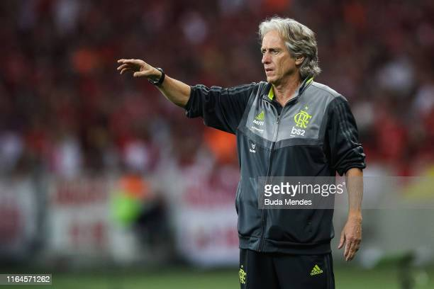 Head coach Jorge Jesus of Flamengo gestures during a match between Internacional and Flamengo as part of Copa CONMEBOL Libertadores 2019 at Beira Rio...