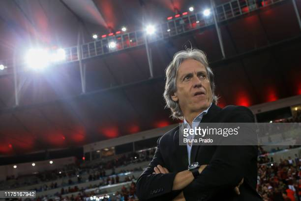 Head coach Jorge Jesus of Flamengo look on prior a match between Flamengo and Atletico MG as part of Brasileirao Series A 2019 at Maracana Stadium on...