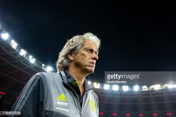 Head coach Jorge Jesus of Flamengo looks on before a match between Internacional and Flamengo as part of Copa CONMEBOL Libertadores 2019 at Beira Rio...