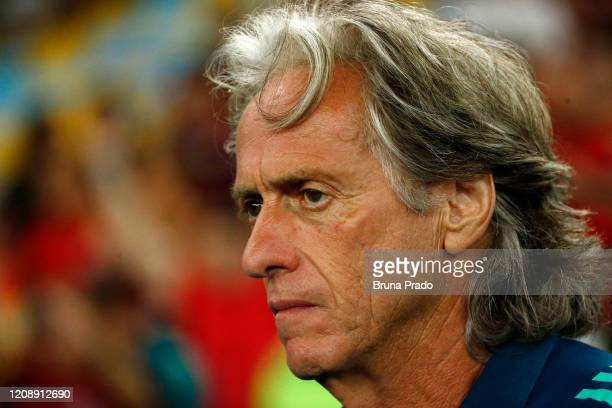 Head coach Jorge Jesus of Flamengo looks on before he second leg match between Flamengo and Independiente del Valle as part of Recopa Sudamericana...