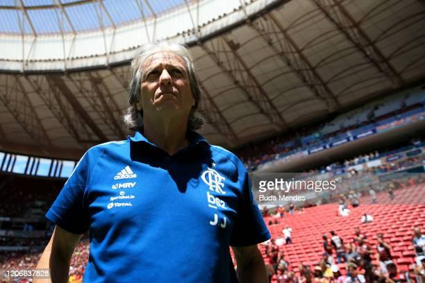 Head coach Jorge Jesus of Flamengo looks on before the Brazilian Supercopa final between Flamengo and Athletico PR at Mane Garrincha Stadium on...