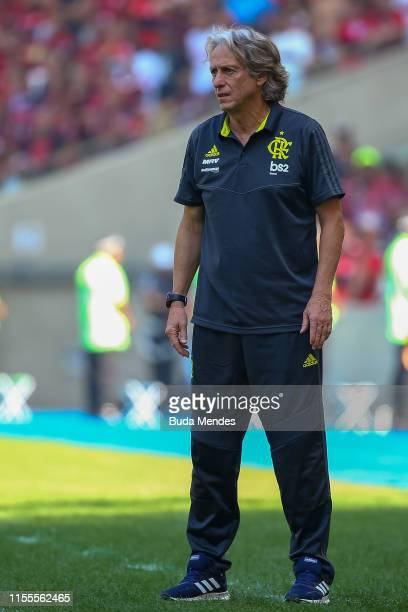 Head coach Jorge Jesus of Flamengo looks on during a match between Flamengo and Goias as part of Brasileirao Series A 2019 at Maracana Stadium on...