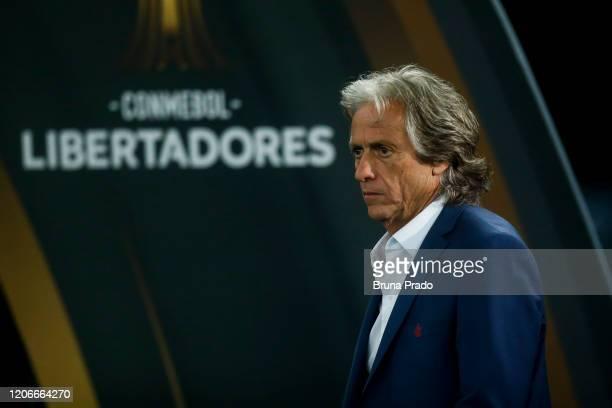 Head coach Jorge Jesus of Flamengo looks on during a match between Flamengo and Barcelona as part of Copa CONMEBOL Libertadores 2020 at Maracana...
