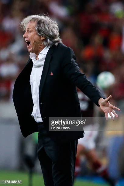 Head coach Jorge Jesus of Flamengo reacts during a match between Flamengo and Atletico MG as part of Brasileirao Series A 2019 at Maracana Stadium on...