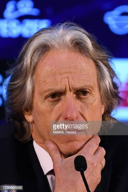 Head coach Jorge Jesus of SL Benfica reacts during the press conference at the end of the Liga NOS match between FC Porto and SL Benfica at Estadio...