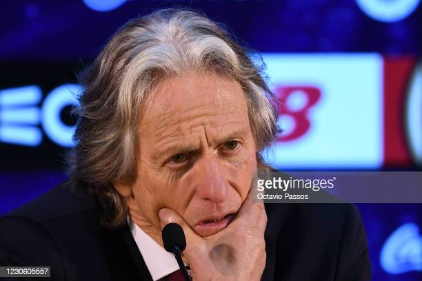 Head coach Jorge Jesus of SL Benfica speaks during the press conference at the end of the Liga NOS match between FC Porto and SL Benfica at Estadio...