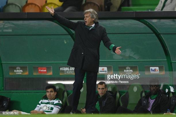 Head coach Jorge Jesus of Sporting Lisbon reacts during the UEFA Europa League Round of 16 first leg match between Sporting Lisbon and Viktoria Plzen...