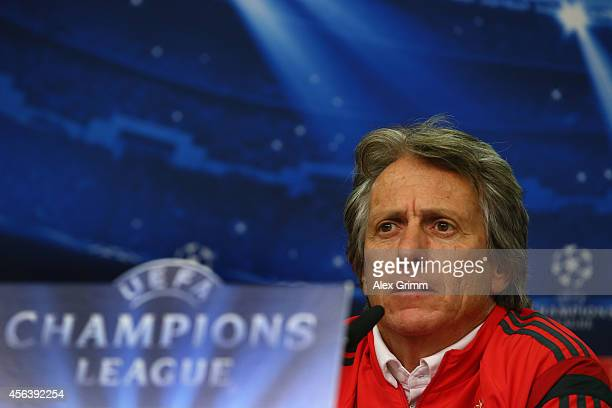 Head coach Jorge Jesus talks during a SL Benfica press conference ahead of their UEFA Champions League group C match against Bayer Leverkusen at...
