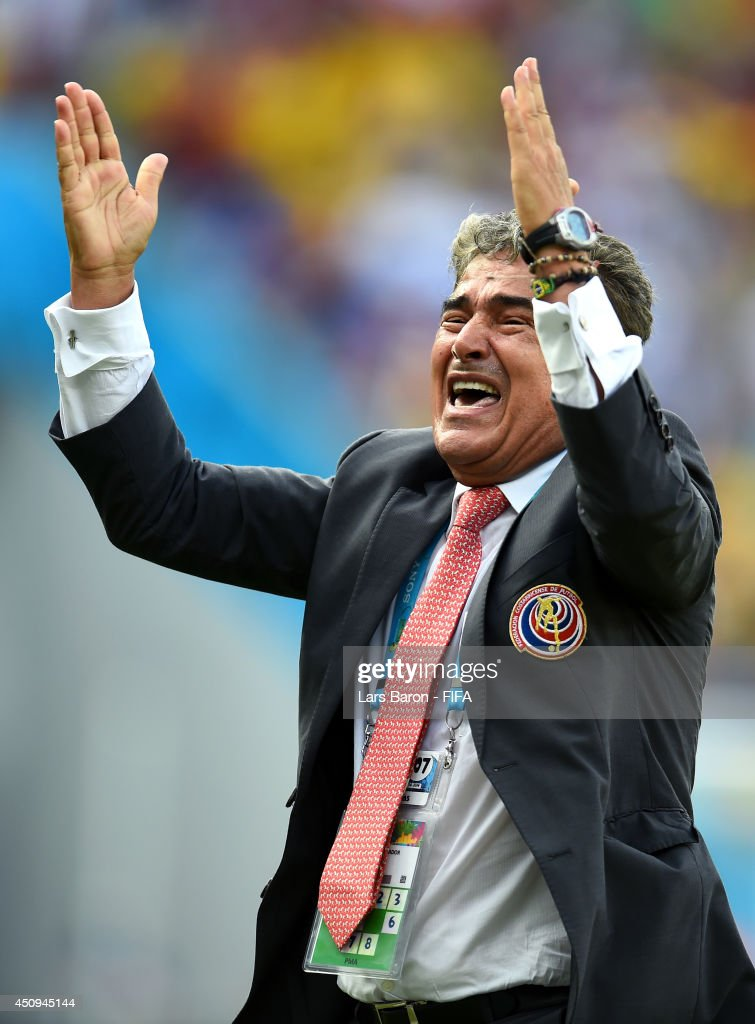 Head coach Jorge Luis Pinto of Costa Rica celebrates the 1-0 win after the 2014 FIFA World Cup Brazil Group D match between Italy and Costa Rica at Arena Pernambuco on June 20, 2014 in Recife, Brazil.