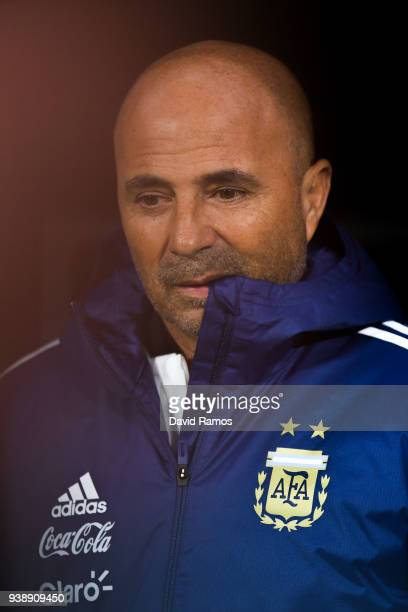 Head coach Jorge Sampaoli of Argentina looks on during an International friendly match between Spain and Argentina at the Wanda Metropolitano stadium...