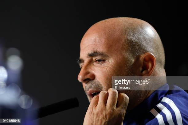 Head coach Jorge Sampaoli of Argentina looks on during the press conference after a training session on March 26 2018 in Madrid Spain