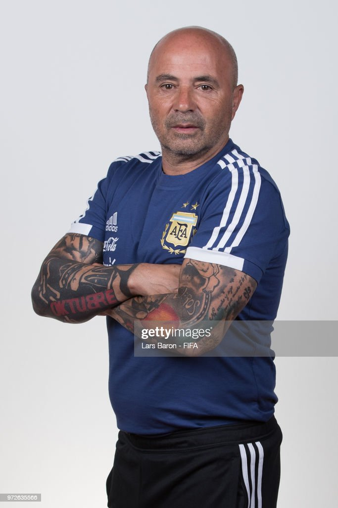 Head coach Jorge Sampaoli of Argentina poses for a portrait during the official FIFA World Cup 2018 portrait session on June 12, 2018 in Moscow, Russia.