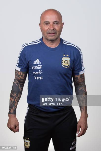 Head coach Jorge Sampaoli of Argentina poses for a portrait during the official FIFA World Cup 2018 portrait session on June 12 2018 in Moscow Russia
