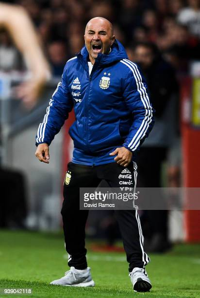 Head coach Jorge Sampaoli of Argentina reacts during an International friendly match between Spain and Argentina at the Wanda Metropolitano stadium...