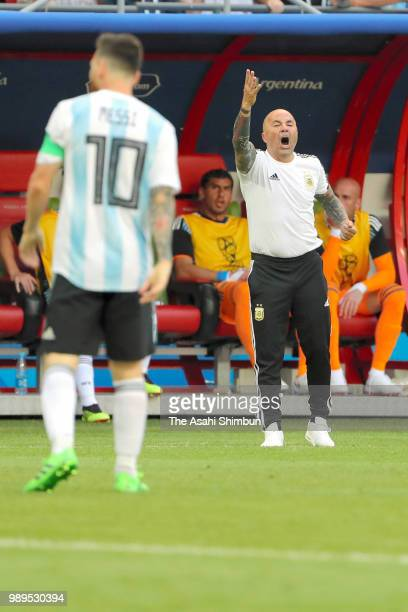 Head coach Jorge Sampaoli of Argentina reacts during the 2018 FIFA World Cup Russia Round of 16 match between France and Argentina at Kazan Arena on...