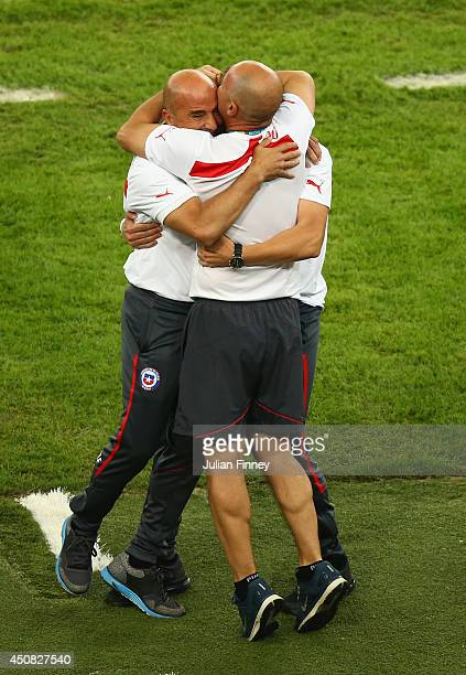 Head coach Jorge Sampaoli of Chile celebrates after defeating Spain 20 during the 2014 FIFA World Cup Brazil Group B match between Spain and Chile at...