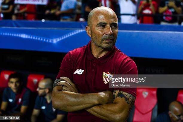 Head coach Jorge Sampaoli of Sevilla FC looks on prior to the UEFA Champions League Group H match between Sevilla FC and Olympique Lyonnais at the...