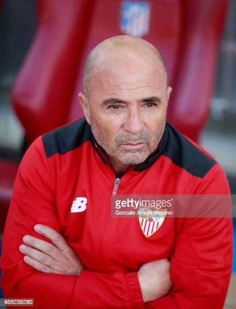 Head coach Jorge Sampaoli of Sevilla FC looks on sitted on the bench prior to start the La Liga match between Club Atletico de Madrid and Sevilla FC...
