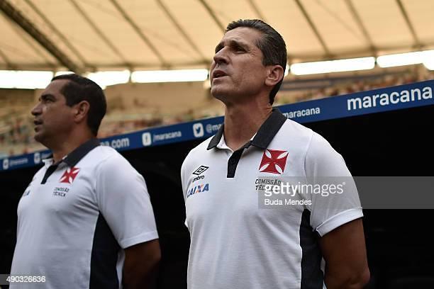 Head coach Jorginho of Vasco in action during a match between Flamengo and Vasco as part of Brasileirao Series A 2015 at Maracana Stadium on...