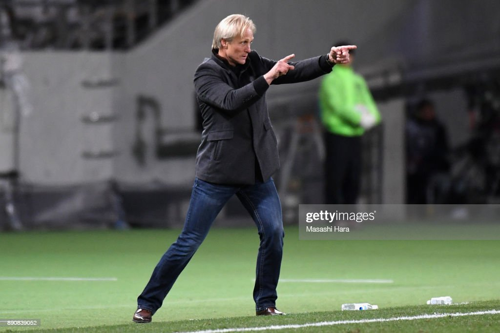 Head coach Jorn Andersen of North Korea gestures during the EAFF E-1 Men's Football Championship between North Korea and South Korea at Ajinomoto Stadium on December 12, 2017 in Chofu, Tokyo, Japan.