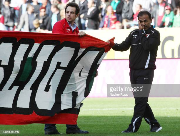 Head coach Jos Luhukay of Augsburg reacts after the Bundesliga match between FC Augsburg and Hamburger SV at SGL Arena on May 5 2012 in Augsburg...