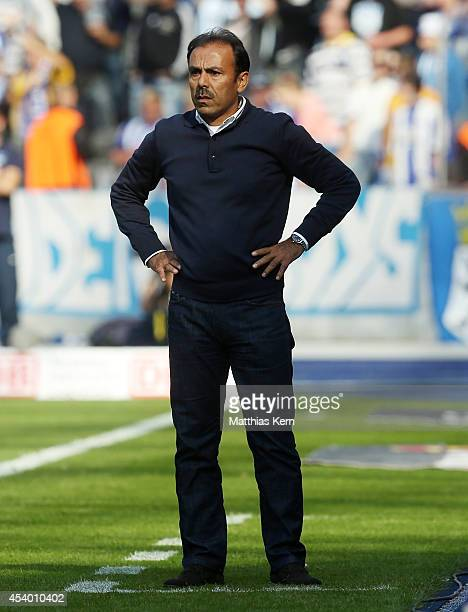 Head coach Jos Luhukay of Berlin looks on during the Bundesliga match between Hertha BSC and SV Werder Bremen at Olympiastadion on August 23 2014 in...