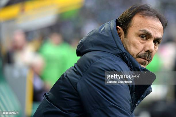 Head coach Jos Luhukay of Berlin looks on prior to the Bundesliga match between Borussia Moenchengladbach and Hertha BSC Berlin at Borussia Park...