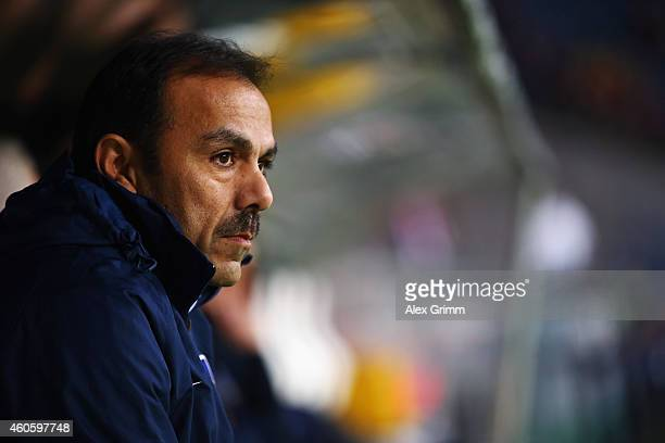 Head coach Jos Luhukay of Berlin looks on prior to the Bundesliga match between Eintracht Frankfurt and Hertha BSC at CommerzbankArena on December 17...