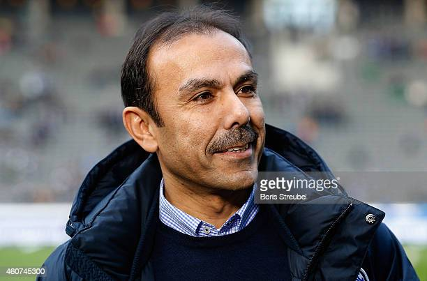 Head coach Jos Luhukay of Berlin looks on prior to the Bundesliga match between Hertha BSC and 1899 Hoffenheim at Olympiastadion on December 21 2014...
