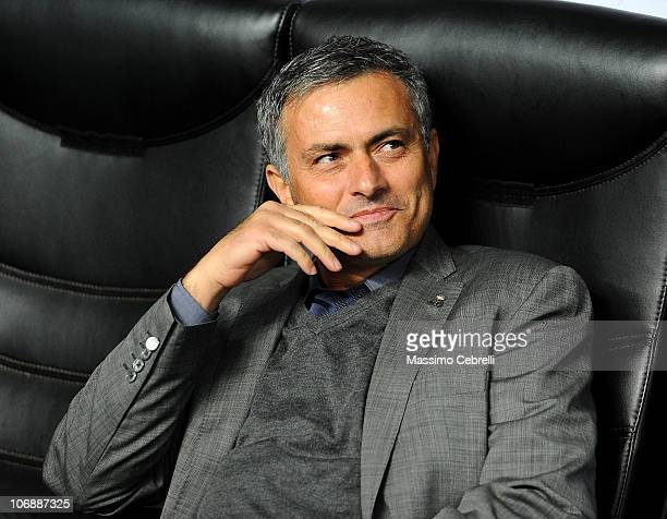 Head coach Josè Mourinho of Real Madrid smiles during the UEFA Champions League group G match between AC Milan and Real Madrid at Stadio Giuseppe...