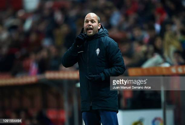 Head coach Jose Alberto Lopez of Real Sporting Gijon reacts during the Copa del Rey Round of 16 match between Real Sporting Gijon and Valencia CF at...