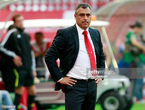 Head coach Jose Couceiro of FC Lokomotiv Moscow looks on during the Russian Football League Championship match between FC Lokomotiv Moscow and FC...