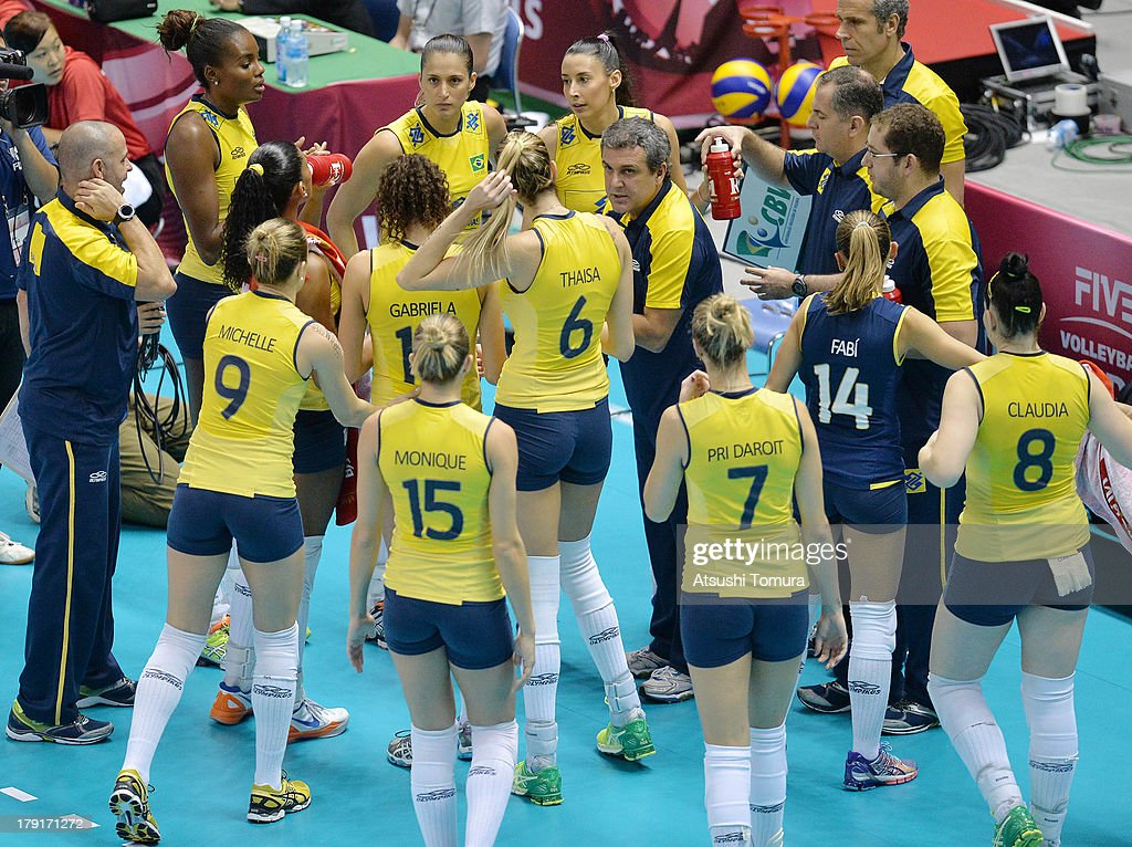 Head coach Jose Guimaraes of Brazil directs his players during day five of the FIVB World Grand Prix Sapporo 2013 match between China and Brazil at Hokkaido Prefectural Sports Center on September 1, 2013 in Sapporo, Hokkaido, Japan.