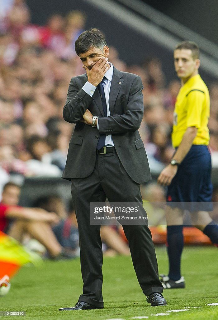 Head coach Jose Luis Mendilibar of Levante UD reacts during the La Liga match between Athletic Club and Levante UD at San Mames Stadium on August 30, 2014 in Bilbao, Spain.