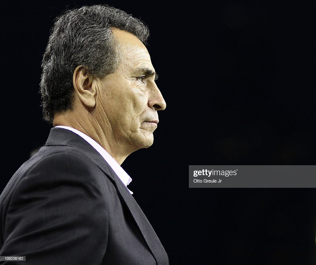 Head coach Jose Luis Real of Chivas de Guadalajara looks on prior to the game against the Seattle Sounders FC on October 12, 2010 at Qwest Field in Seattle, Washington. The Sounders defeated Chivas de Guadalajara 3-1.