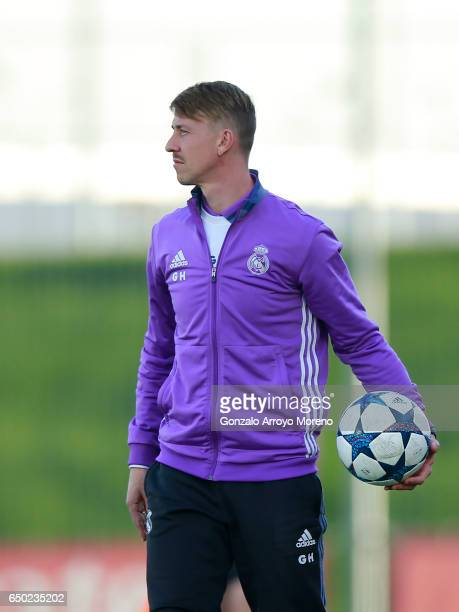 Head coach Jose Maria Gutierrez alias Guti of Real Madrid CF holds the ball during the UEFA Youth League Quarter Final match between Real Madrid CF...