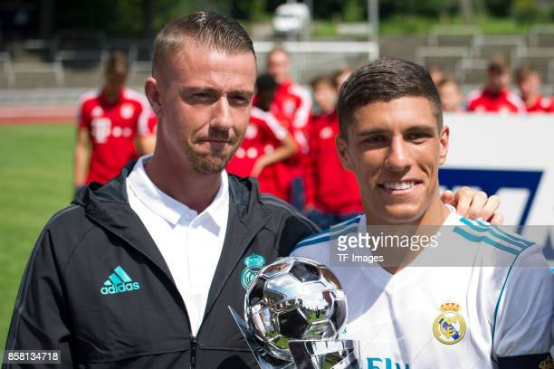 Head coach Jose Maria Gutierrez and Gorka Zabarte Moreno of Real Madrid looks on during the EMKA RUHRCup International Final match between Borussia...
