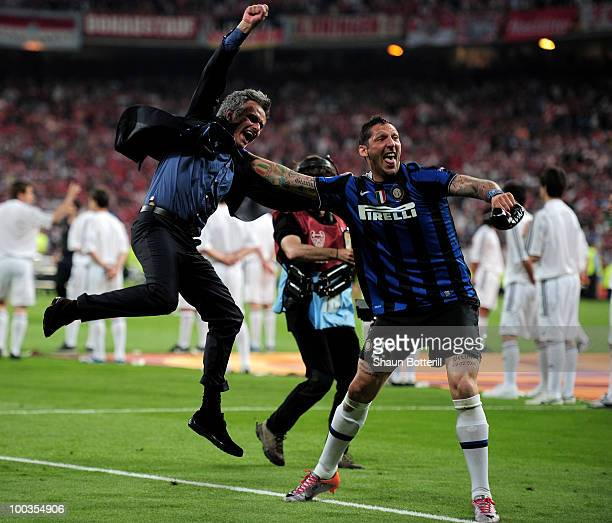 Head coach Jose Mourinho and Marco Materazzi of Inter Milan celebrate their team's victory at the end of the UEFA Champions League Final match...