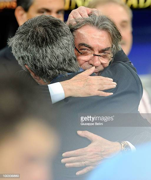 Head coach Jose Mourinho and Massimo Moratti the President of Inter Milan celebrate the victory after the UEFA Champions League Final match between...