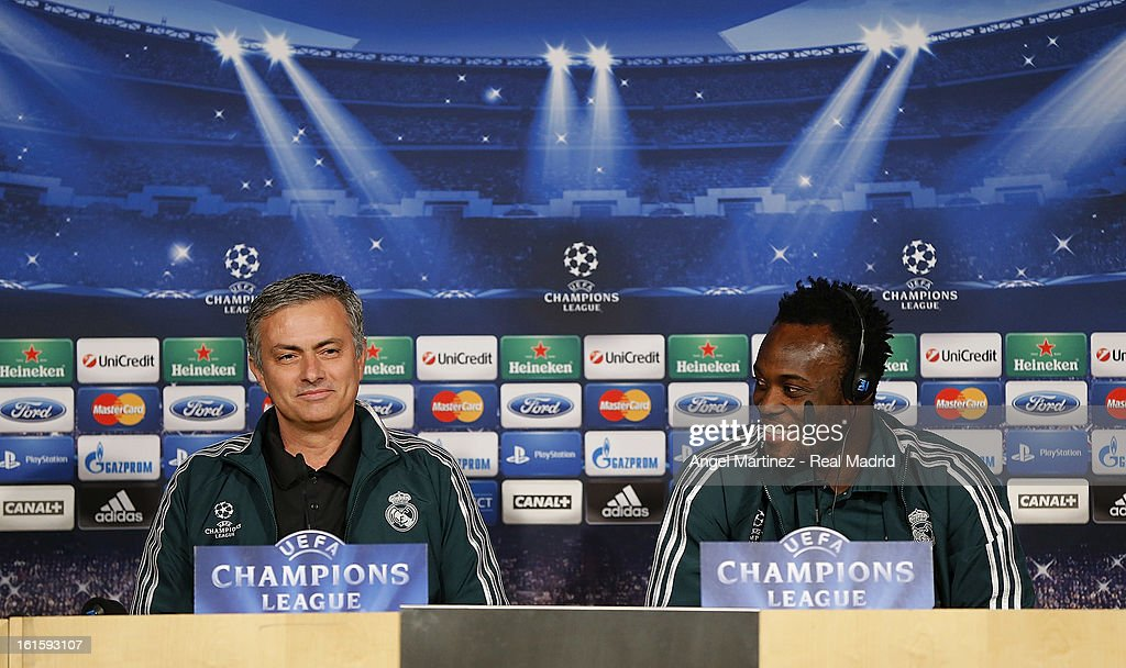Head coach Jose Mourinho (L) and Michael Essien of Real Madrid attend a press conference ahead of the UEFA Champions League match between Real Madrid CF and Manchester United at Estadio Santiago Bernabeu on February 12, 2013 in Madrid, Spain.