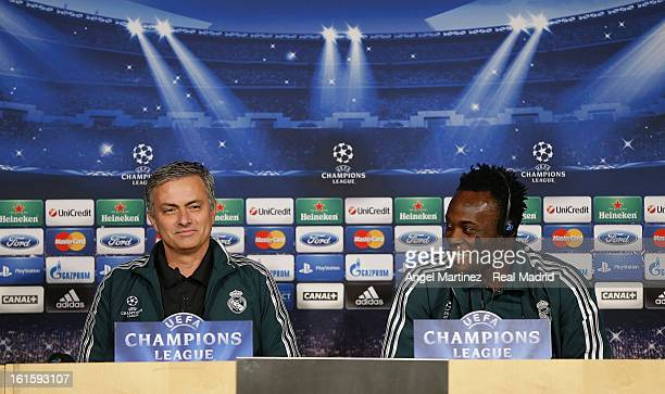 Head coach Jose Mourinho and Michael Essien of Real Madrid attend a press conference ahead of the UEFA Champions League match between Real Madrid CF...