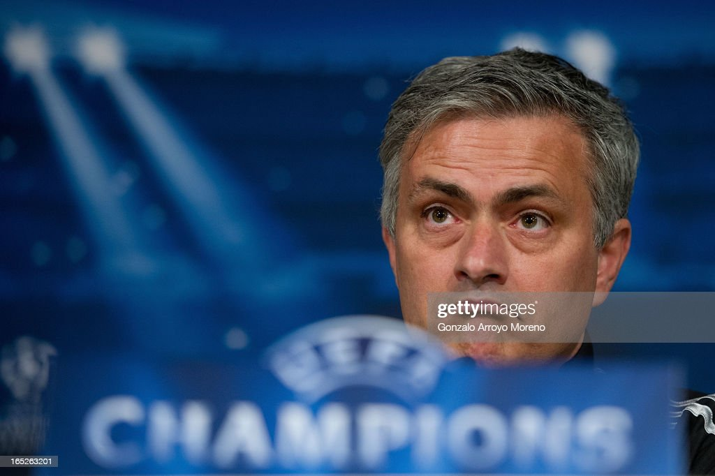 Head coach Jose Mourinho listen to questions from the media during a press conference ahead of the UEFA Champions League Quarterfinal match between Real Madrid and Galatasaray AS at Santiago Bernabeu Stadium on April 2, 2013 in Madrid, Spain.