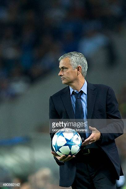 head coach Jose Mourinho of Chelsea FC holds the ball during the UEFA Champions League Group G match between FC Porto and Chelsea FC at Estadio do...