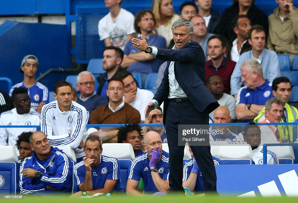 Head coach Jose Mourinho of Chelsea gestures during the Barclays Premier League match between Chelsea and Crystal Palace at Stamford Bridge on August 29, 2015 in London, England.